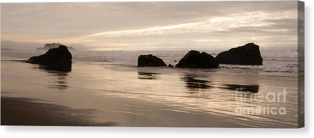 Sunset Canvas Print featuring the photograph Sea Stacks Panorama by Vivian Christopher
