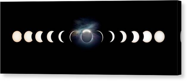Solar Eclipse Canvas Print featuring the photograph Solar Eclipse Photo Sequence by Dr Juerg Alean
