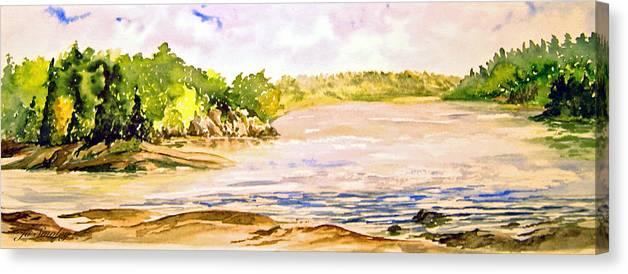 Pine Falls Manitoba Canvas Print featuring the painting Plein Air At Pine Falls Manitoba by Joanne Smoley