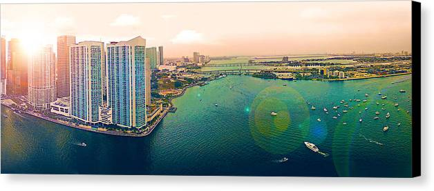 Panorama Canvas Print featuring the photograph 1 Miami by Michael Guirguis