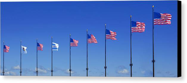 American Canvas Print featuring the photograph American Flags On Chicago's Famous Navy Pier by Christine Till
