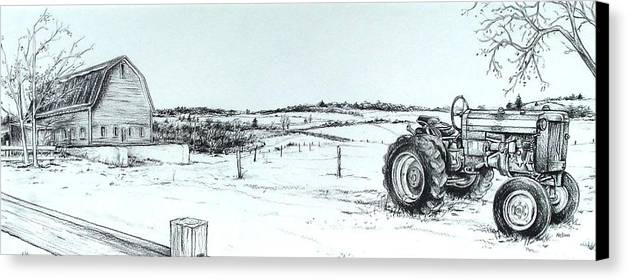 Tractor Canvas Print featuring the drawing Parked Tractor by Scott Nelson