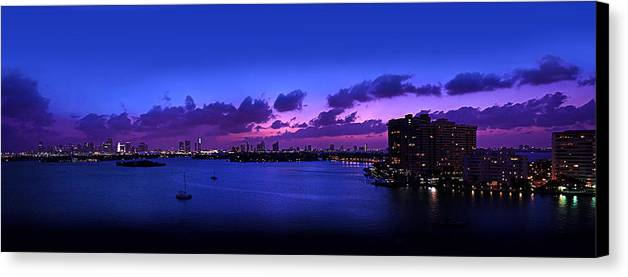 Panorama Canvas Print featuring the photograph Purple Sunset by Michael Guirguis