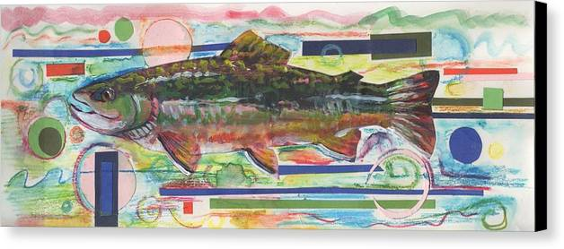 Trout Canvas Print featuring the painting Brook Trout 1 by Michelle Grove