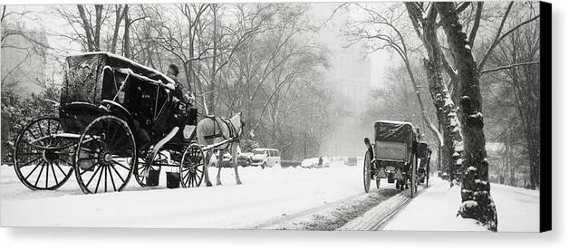 Weather Canvas Print featuring the photograph Central Park In Falling Snow by Axiom Photographic