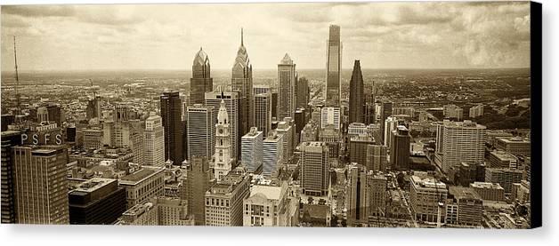 Philadelphia Canvas Print featuring the photograph Aerial View Philadelphia Skyline Wth City Hall by Jack Paolini