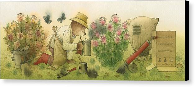 Bears Garden Flowers Roses Magic Glamour Canvas Print featuring the painting Florentius The Gardener11 by Kestutis Kasparavicius
