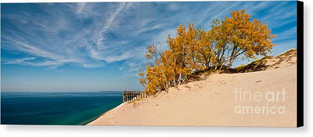 Panaramic Canvas Print featuring the photograph Sleeping Bear Overlook by Larry Carr