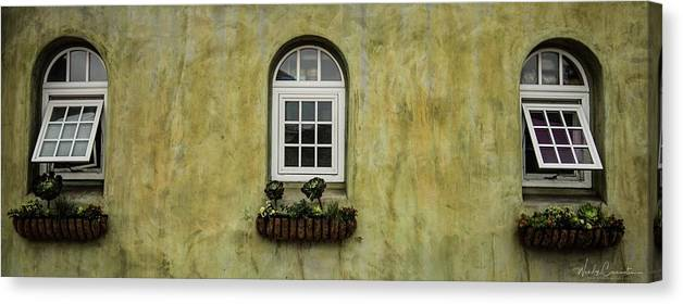 Canvas Print featuring the photograph 3 Windows by Wendy Carrington