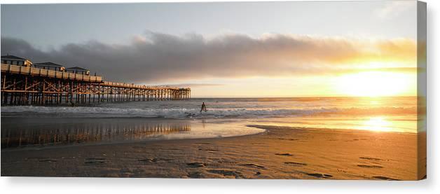 Beach Canvas Print featuring the photograph Sunset At Pacific Beach Pier - Crystal Pier - Mission Bay, San Diego, California by Ryan Kelehar