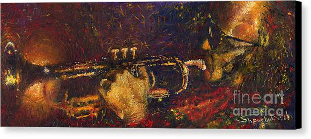 Jazz Canvas Print featuring the painting Jazz Miles Davis by Yuriy Shevchuk