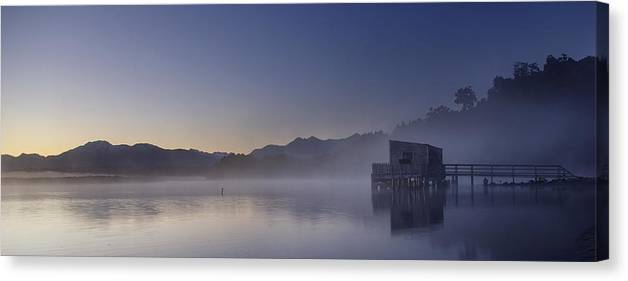 Landscape Canvas Print featuring the photograph Okarito Lagoon Dawn by Peter Prue