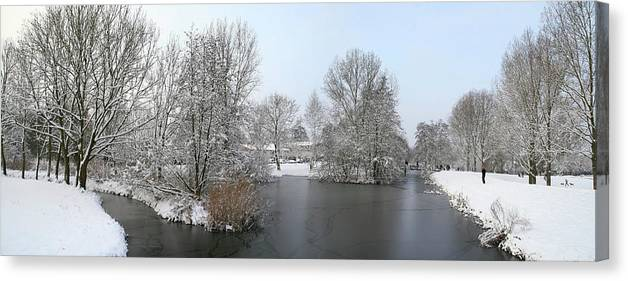 Panorama Canvas Print featuring the photograph Snowy Scenery Round Canals by Erin Larcher