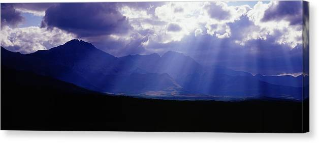 Scenics Canvas Print featuring the photograph Panoramic Beaming Light In Waterton by Jason v