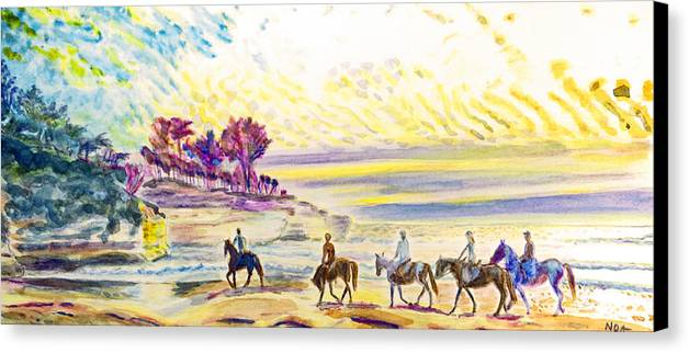 Seascape Canvas Print featuring the painting Horsemen by Aymeric NOA