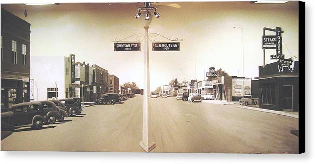Mural Canvas Print featuring the painting 2nd St. 1930 And Route 66 1950 by Doug Quarles