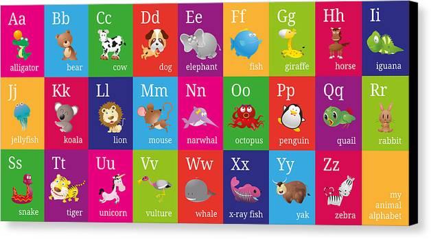 Animal Alphabet Canvas Print featuring the digital art Animal Alphabet by Michael Tompsett