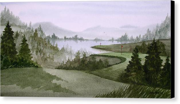 Golf Canvas Print featuring the painting Northern Lake Golf by Sean Seal