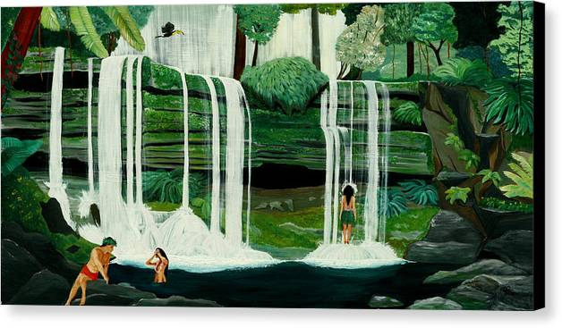 Tiki Art Canvas Print featuring the painting Wahines In Waterfall by Julie Pflanzer