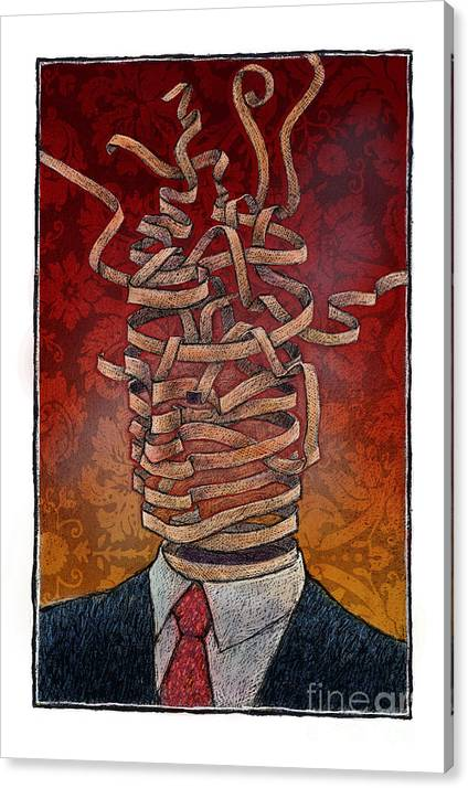 Mind Canvas Print featuring the drawing Ribbon by Chris Van Es