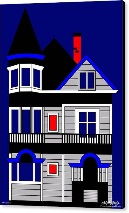 Canvas Print featuring the digital art 1080 Haight Street by Asbjorn Lonvig