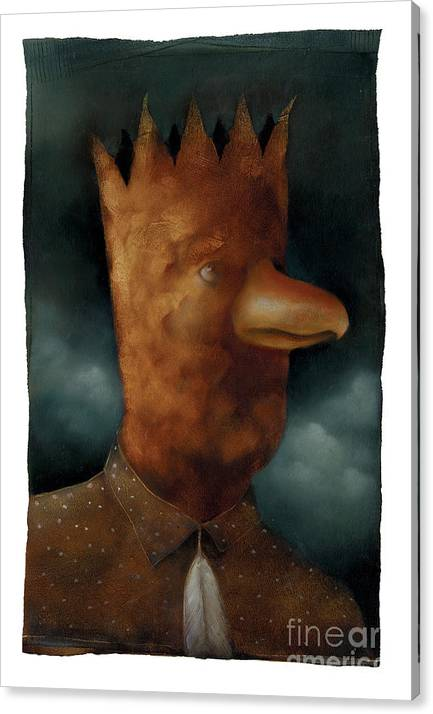 Bird Canvas Print featuring the painting The Bird King by Chris Van Es