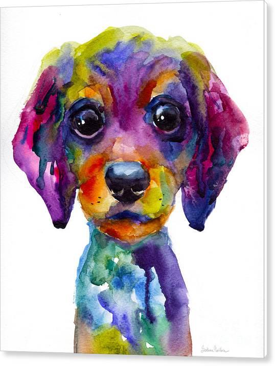 Colorful whimsical Daschund Dog puppy art by Svetlana Novikova