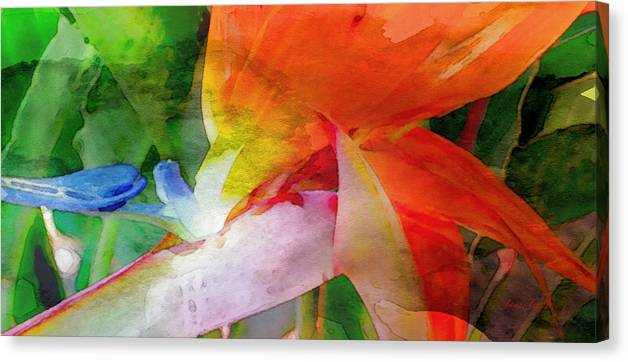 Bird Of Paradise Canvas Print featuring the digital art Hawaiian Bird Of Paradise by James Temple