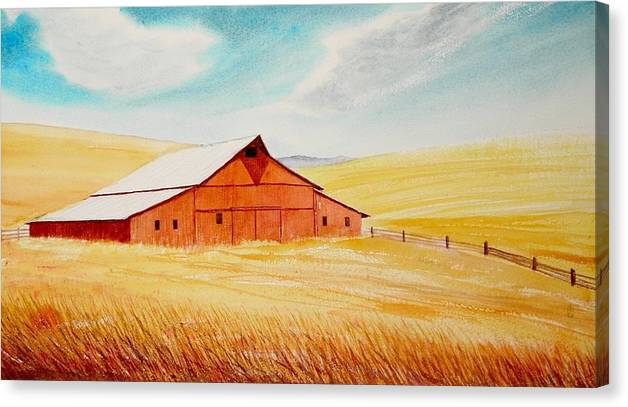 Wheat Canvas Print featuring the painting Palouse Air by Leonard Heid