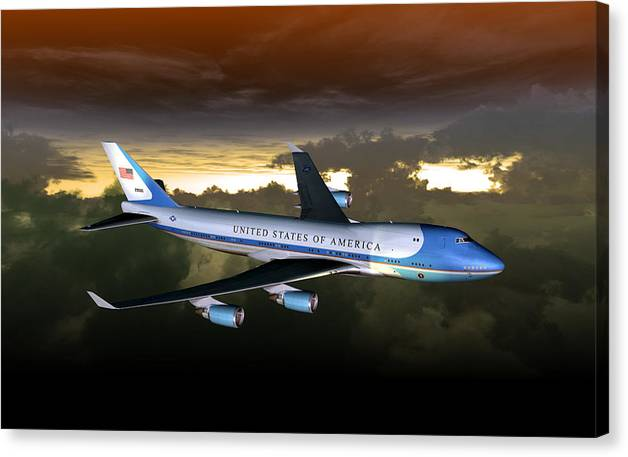 Aviation Canvas Print featuring the digital art Air Force One 28.8x18 by Mike Ray
