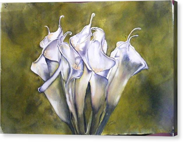 Callas Canvas Print featuring the painting Callas 2 by Diane Ziemski