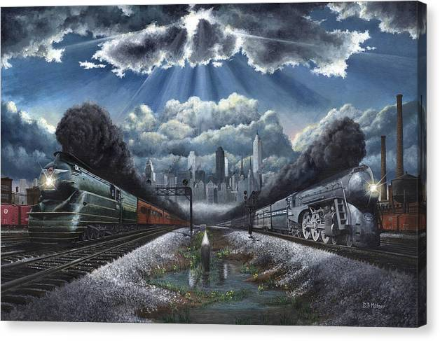 Trains Canvas Print featuring the painting The Race by David Mittner