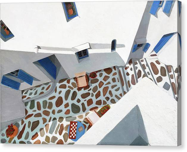 Patio Canvas Print featuring the painting Prints- MYKONOS MORNING by Mary Grden