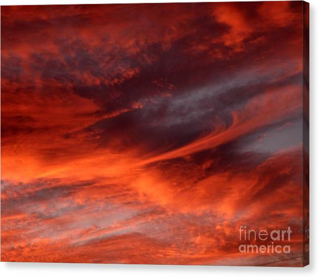 Sunset Canvas Print featuring the photograph Fire in the Sky by Julia Walsh