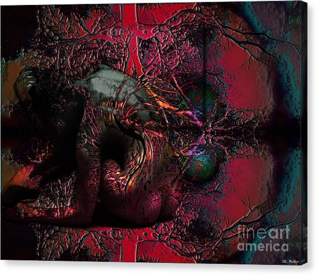 Abstarct Canvas Print featuring the mixed media Private Dancer by ML Walker