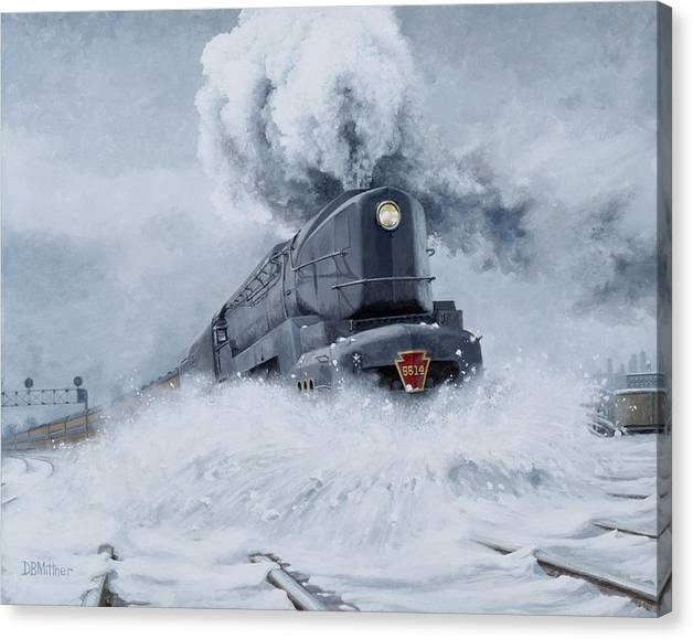Trains Canvas Print featuring the painting Dashing Through the Snow by David Mittner