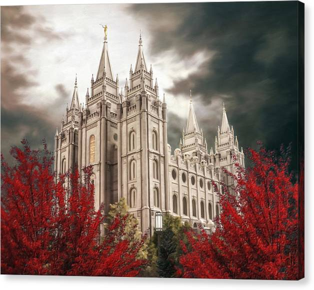 Salt Lake Canvas Print featuring the painting Salt Lake Temple - A Light in the Storm - cropped by Brent Borup