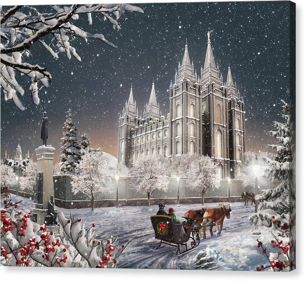 Salt Lake Canvas Print featuring the painting Salt Lake Temple - Old Time Christmas by Brent Borup
