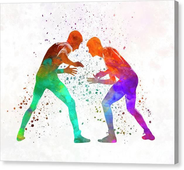 Wrestlers wrestling men 01 in watercolor by Pablo Romero