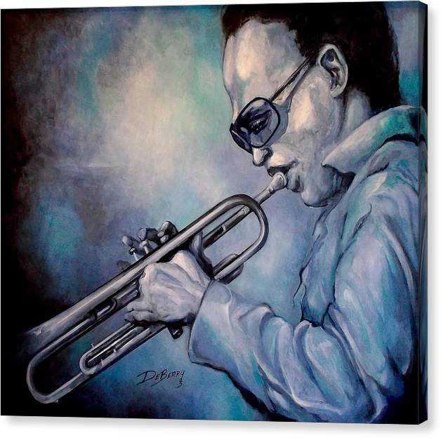 Glecee Limited Edition Print Of Miles Davis Canvas Print featuring the painting All Blue Print by Lloyd DeBerry