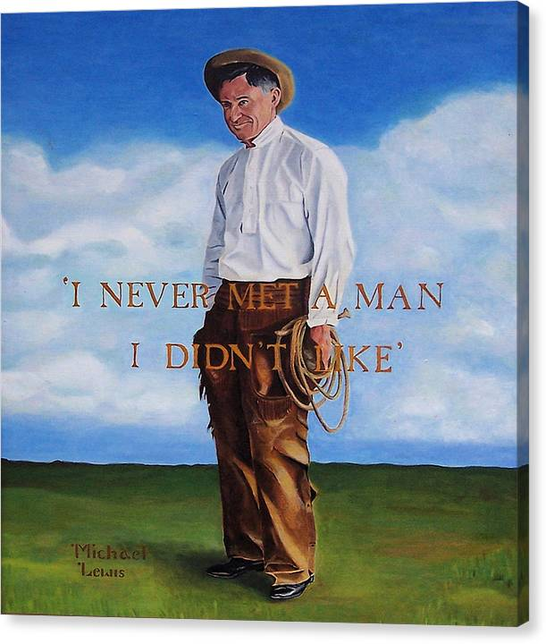 Oil Canvas Print featuring the painting Will Rogers by Michael Lewis