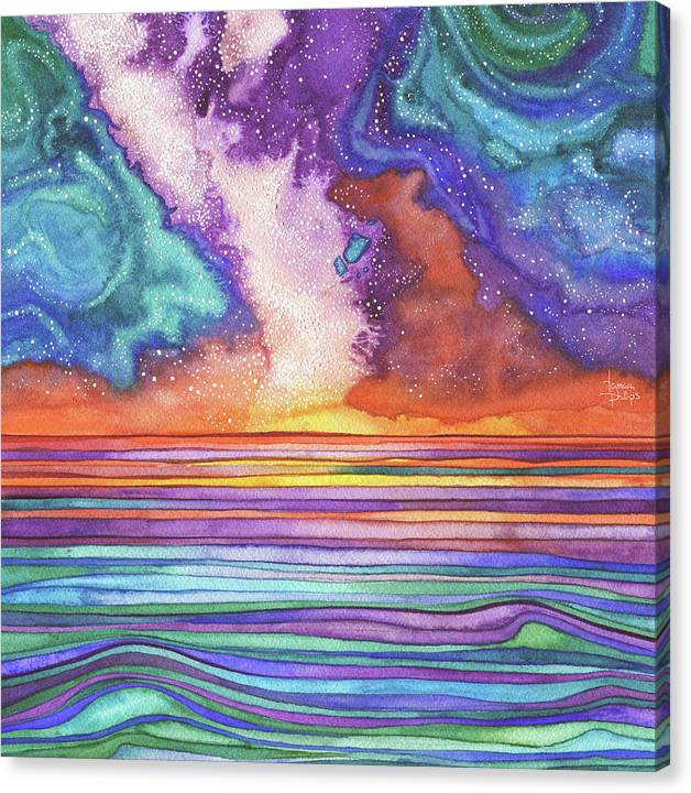 Watercolour Canvas Print featuring the painting Star Water by Tamara Phillips