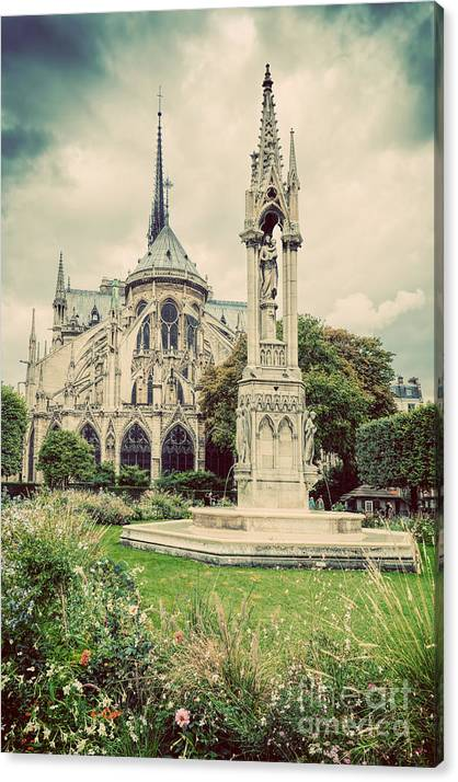 Notre Dame Cathedral in Paris, France. Square Jean XXIII. Vintage by Michal Bednarek