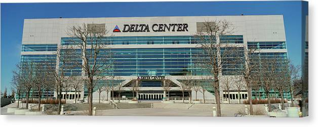 Photography Canvas Print featuring the photograph Panoramic Of Delta Center Building by Panoramic Images