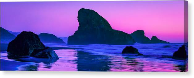 Meyers Creek Beach Canvas Print featuring the photograph Sea Stacks on the Oregon Coast by Rich Leighton