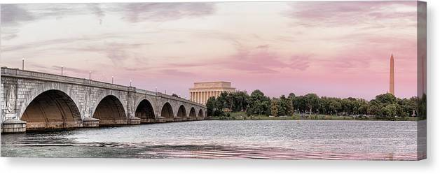 Photography Canvas Print featuring the photograph Arlington Memorial Bridge With Lincoln by Panoramic Images