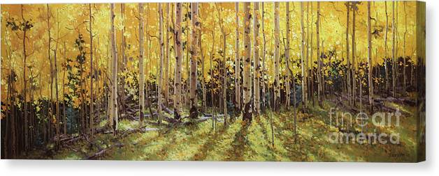 Fall Aspen Panorama Canvas Print featuring the painting Fall Aspen Panorama by Gary Kim