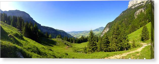 Appenzell Canvas Print featuring the photograph Panorama Of The Appenzeller Hills Near Mount Saentis Switzerland by PIXELS XPOSED Ralph A Ledergerber Photography