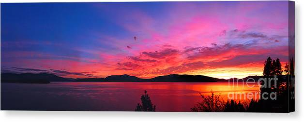 Lake Canvas Print featuring the photograph Setting The Night On Fire by Beve Brown-Clark Photography