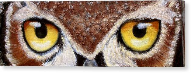 Owl Canvas Print featuring the painting Whos Watching Who by Darlene Green